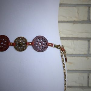 Fossil Bohemian Belt Leather Metal Chain Hippie M